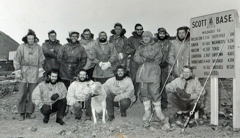 Winter-over team for 1962-1963. Radio operator Quentin McLea in back row, 2nd from right