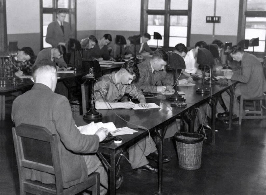 Morse School at the Post Office training centre within the Trentham military camp, May 1948.
