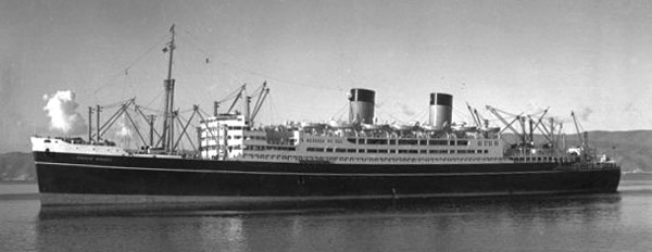 Dominion Monarch on Wellington Harbour in the 1940s