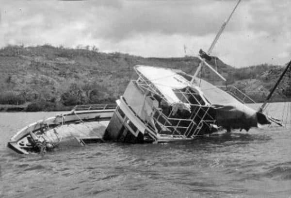 MV Joyita was found abandoned and listing to port with her decks awash.