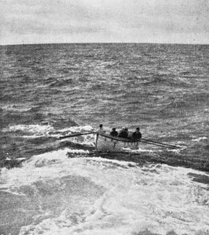 The Favell's boat approaching the Monowai to tranship the sick man