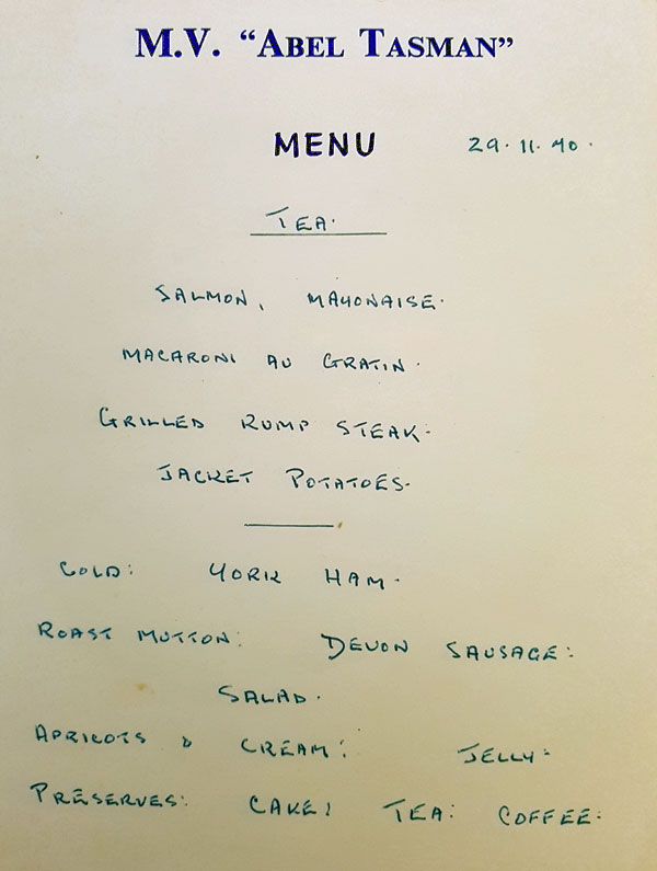 Crew menu for the ship MV Abel Tasman 1970