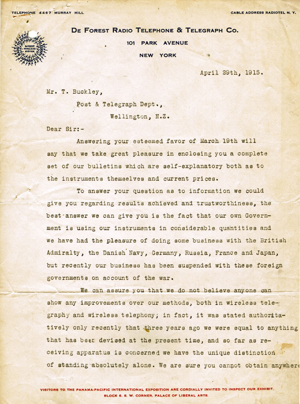Letter from De Forest company to NZ Post and Telegraph Department, 1915, p1