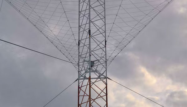 A Spira-Cone antenna at Taupo Radio ZLM's Matea site