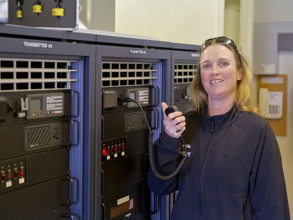 "Joanna testing the Nr 2 <a href=""http://www.barrettcommunications.com.au/"" target=""_blank"">Barrett</a> transmitter at Matea, Oct 2016"