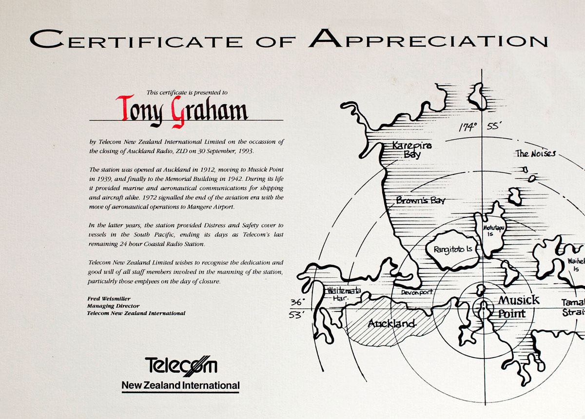 Certificate of Appreciation, closure of Auckland Radio ZLD