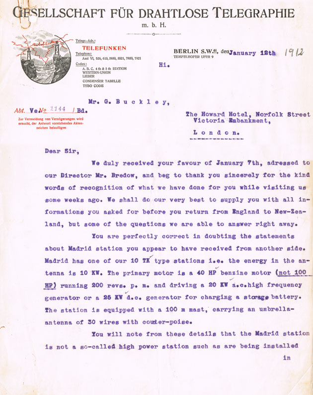 Letter from Telefunken to NZ Government, 12 Jan 1912