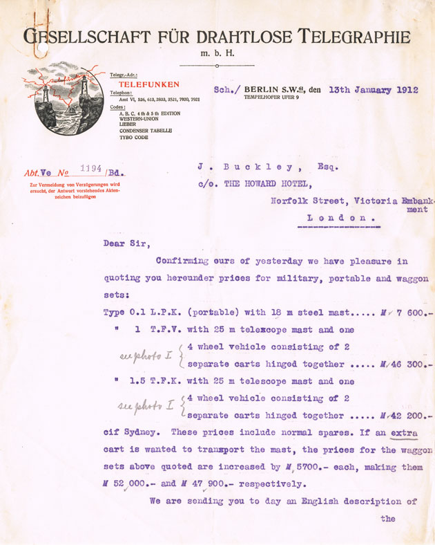 Letter from Telefunken to NZ Government, 13 Jan 1912