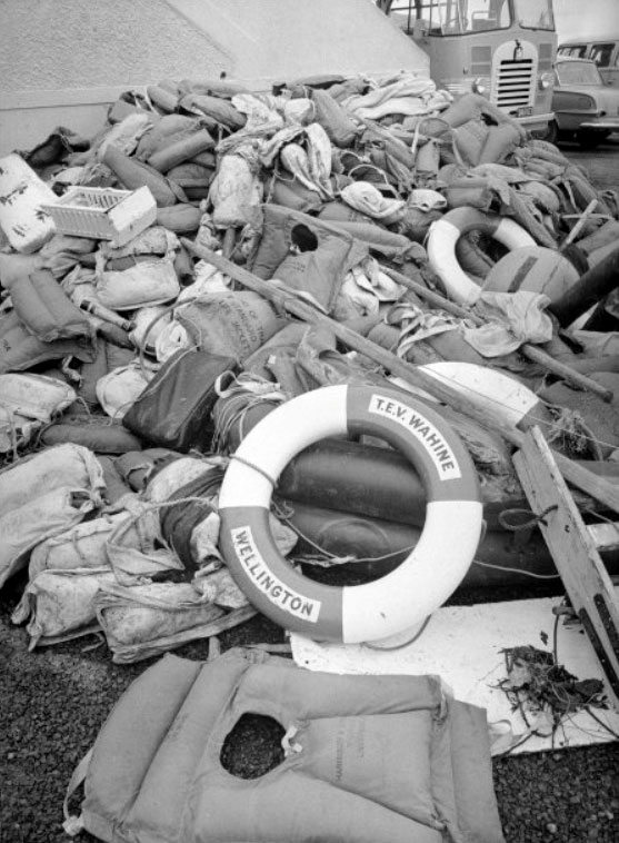 Liferaft and wreckage from the ferry Wahine on Eastbourne Beach