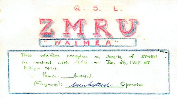 QSL card from the Union Steam Ship Company's SS Waimea