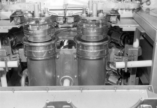 Water-cooled final output valves of the 40kW STC DS13 transmitter