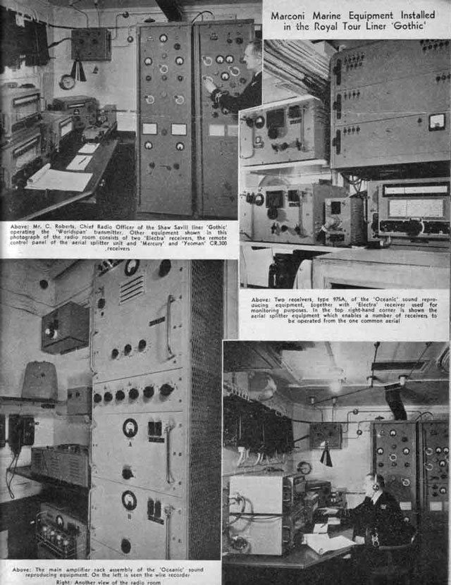 Radio installation aboard SS Gothic for royal tour