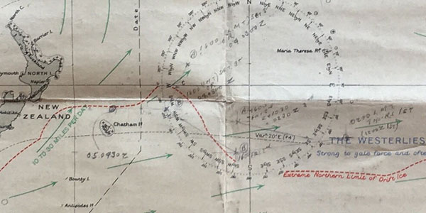 A close-up view of the Lifeboat Chart used by Capt Agnew