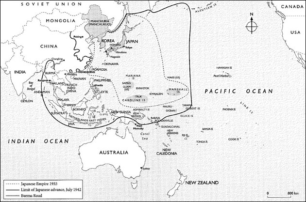 Map: Japan's invasion of the Pacific to 1942