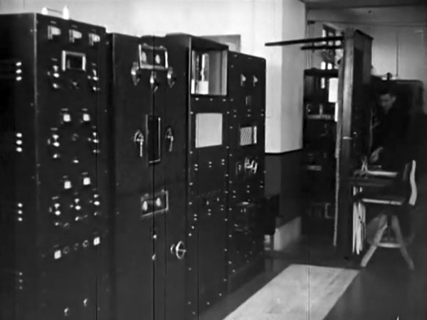 Transmitters at Wellington Radio ZLW in 1939, from the NZ Post & Telegraph Department's promotional film From Back-Blocks to High Seas.