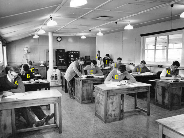 Keith Surridge (centre, standing) with students at the Trentham radio training school in 1961.