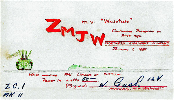 QSL card confirming reception of MV Waiotahi on 7 Jan 1955