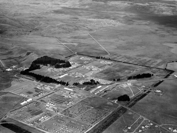 Aerial view of Waiouru Military Camp in April 1947