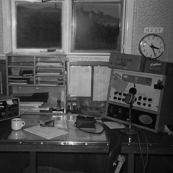 Small ships desk (2182 kHz) at Chatham Islands Radio in early 1970s
