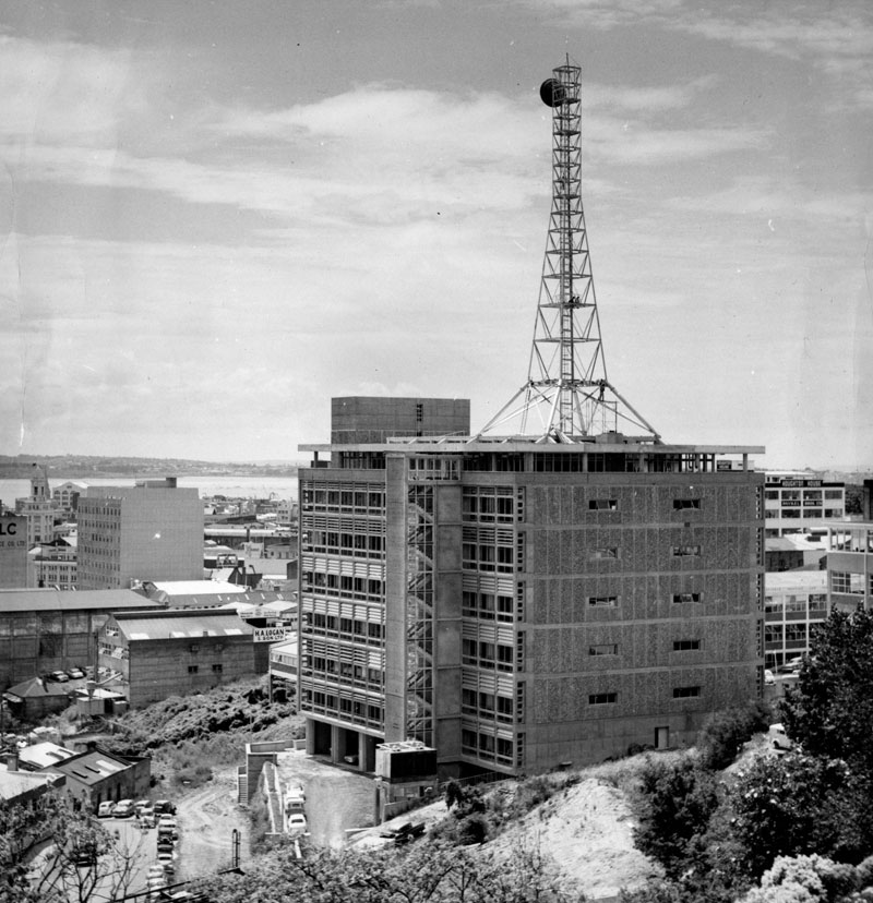 Microwave tower on telephone exchange building in Airedale St, Auckland