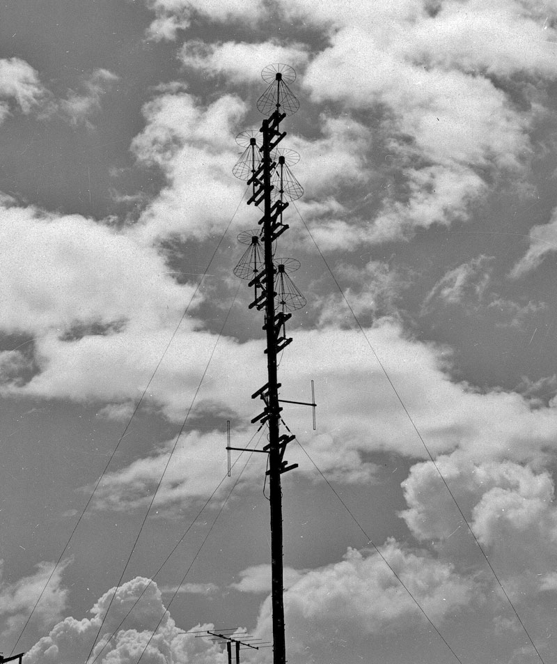 Land Mobile antennas, including discones, on Mt Eden