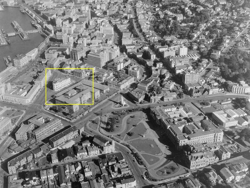 1947 aerial view of Parliament Buildings in foreground with the Old Government Buildings on Lambton Quay and the central business district beyond