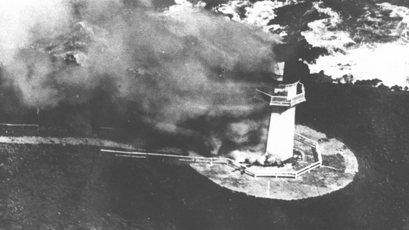 Puysegur Point lighthouse on fire