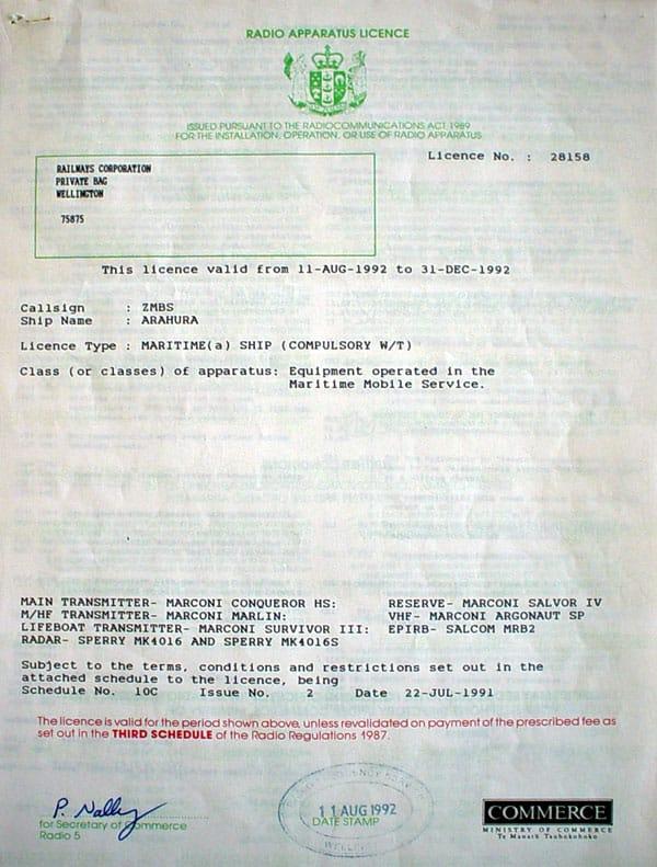 1992 radio licence for Arahura ZMBS