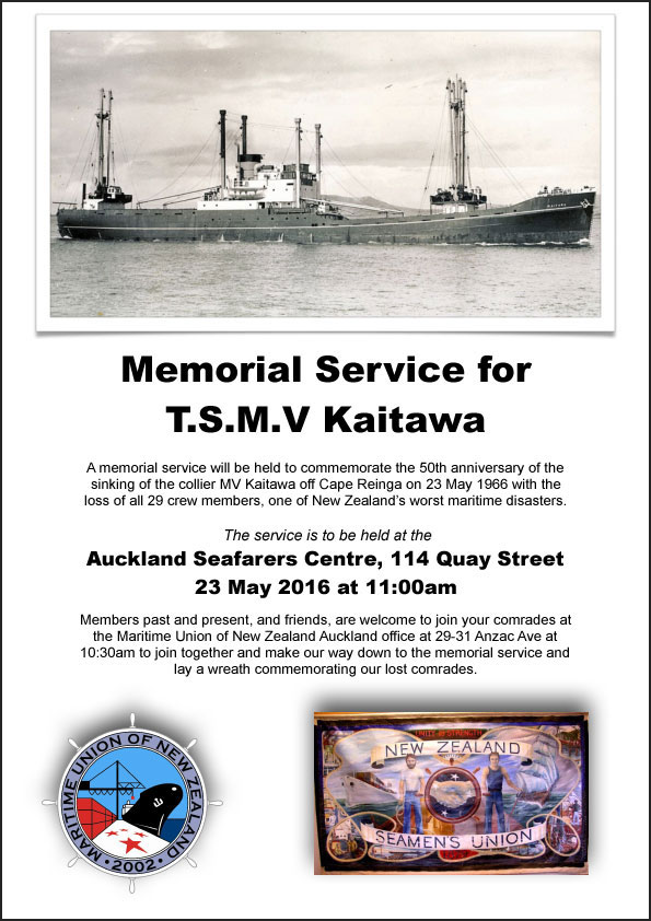 Poster for a 2016 memorial service for the crew of Kaitawa