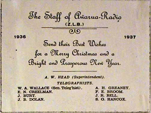 Awarua Radio Christmas card, 1936