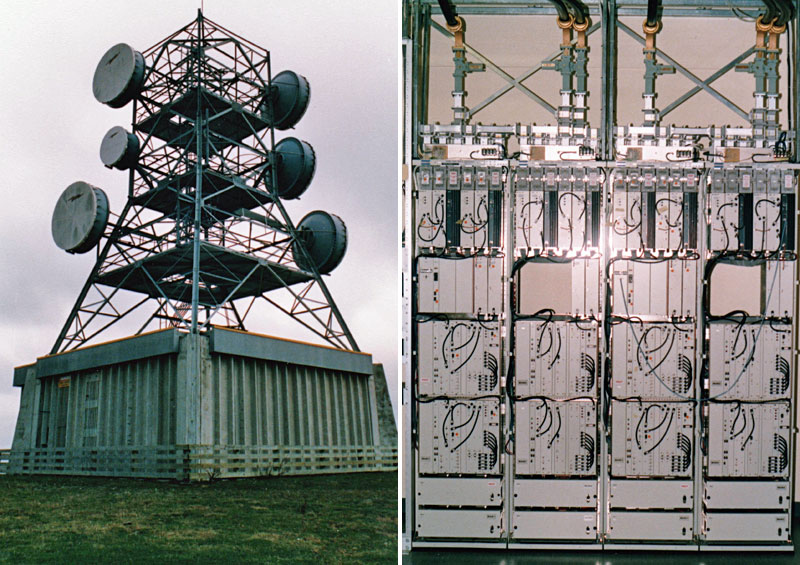 Left: Digital microwave station near Palmerston North. Right: Racks of DMR equipment.