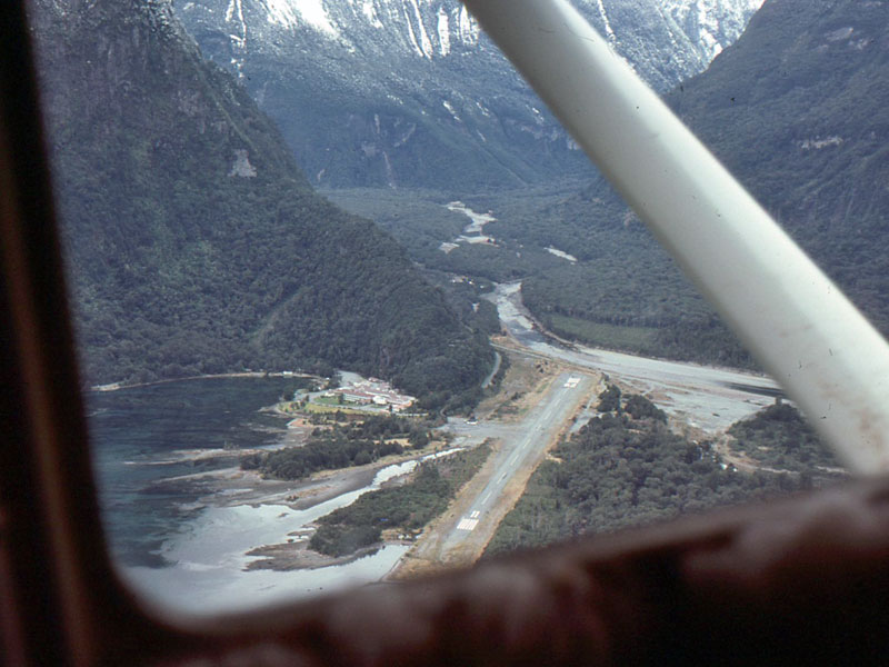 Approaching Milford Sound, on a flight bringing ZLB technicians to Milford Sound Radio
