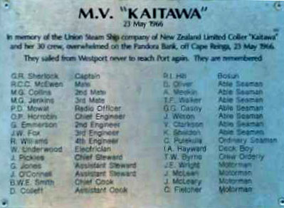 Kaitawa shipwreck plaque, 2003