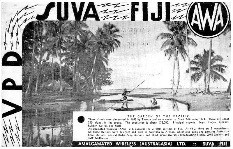 QSL card from Suva Radio VPD, 1938