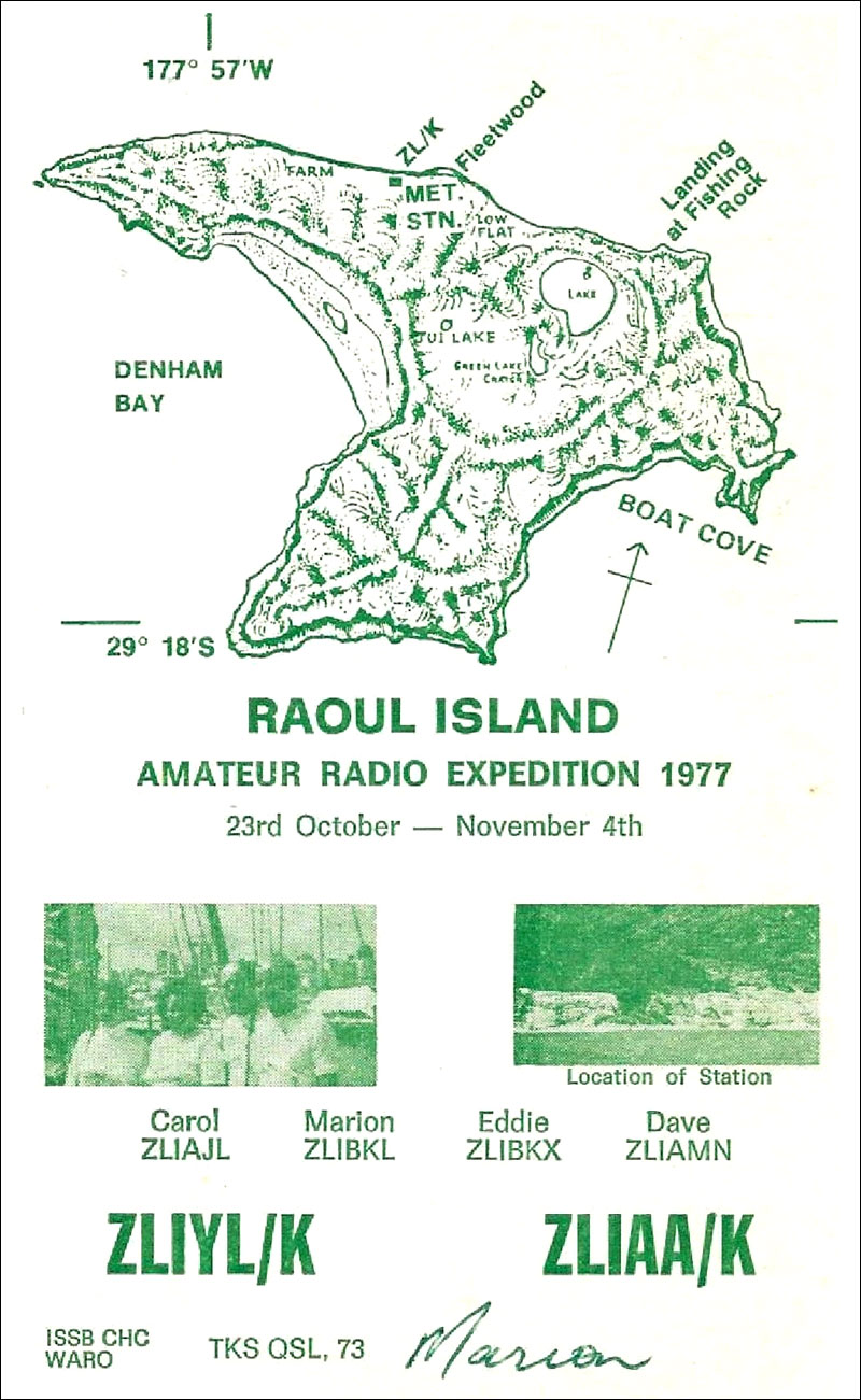 QSL card from amateur radio DXpedition to Raoul Island in 1977