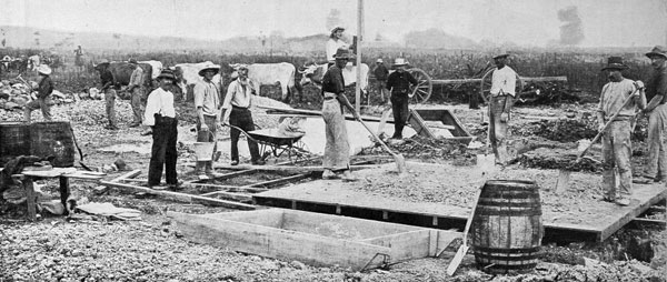 The most northerly of the Dominion's high-power wireless telegraphy stations: putting in the foundations for the Awanui station, Kaitaia, North Auckland