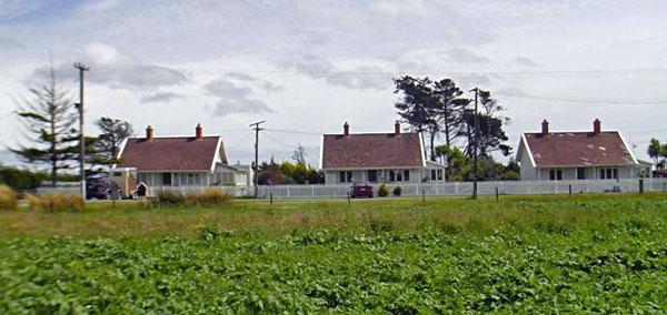 Original three staff houses at Awarua Radio, built by Telefunken in 1913