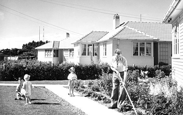 Awarua Radio ZLB operator Bill Burt maintaining his garden