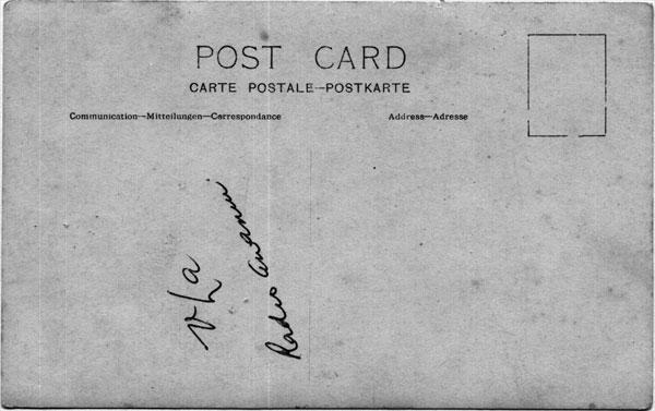 Reverse side of the above post card, the handwriting reads 'VLA Radio Awanui'