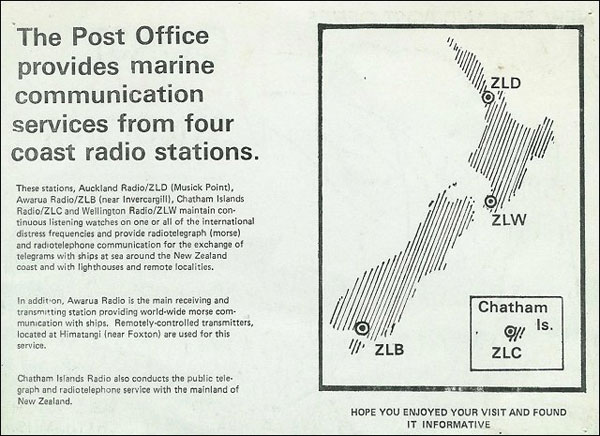 Card about New Zealand Post Office coast radio stations