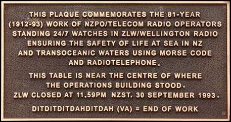 Plaque 0the closure of Wellington Radio ZLW, unveiled 20 September 2013 on Te Ahumairangi (Tinakori Hill)