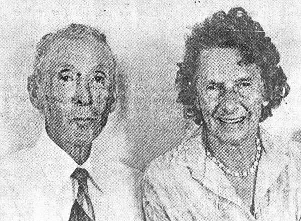 Les Elliston and his wife during the Awanui Radio anniversary in 1980