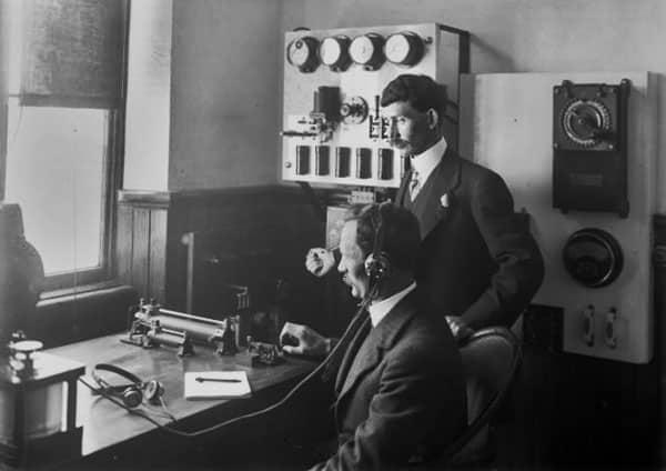 Inside the radiotelegraph station on Mt Etako (Tinakori Hill), Wellington, c1912