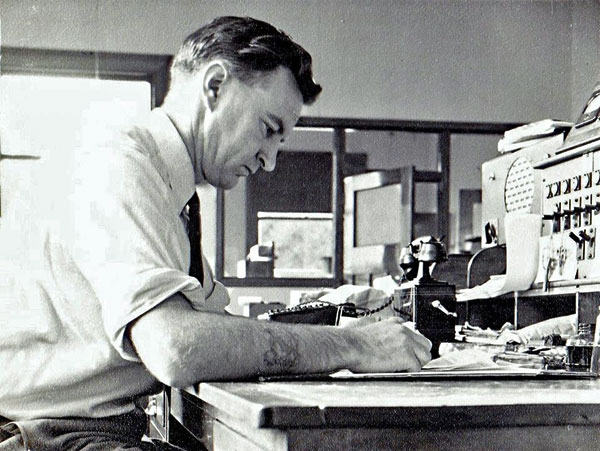 Syd Faass, telegraphist at Awarua Radio from 1942 to 1962. Photo probably late 1950s.