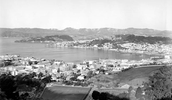 Wellington Harbour seen from Tinakori Hills during the1960s.