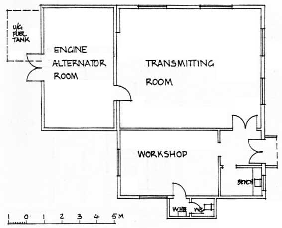Plan of the transmitter building at ZLW in 1985