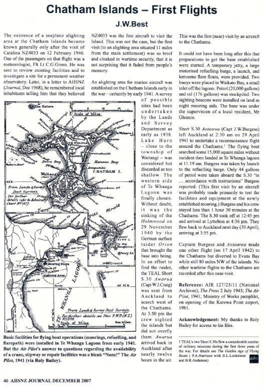 1946 - Chatham Islands First Flights