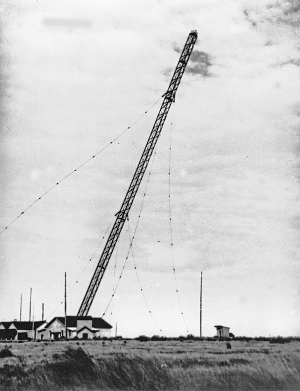 The original 394 ft mast at Awarua Radio being felled on 24 March 1938