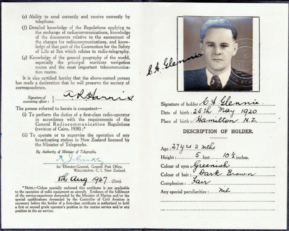 Radio operator's licence of Charles Alan Glennie. Click to enlarge.