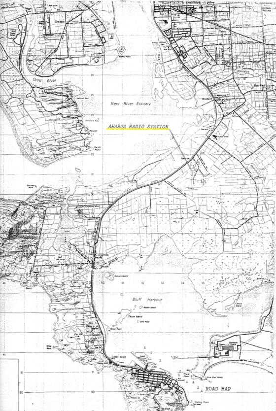 Map showing location of Awarua Radio ZLB c1985